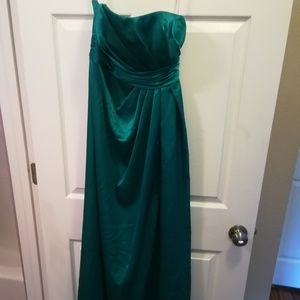 Davids Bridal Strapless Teal Green Gown Size 2